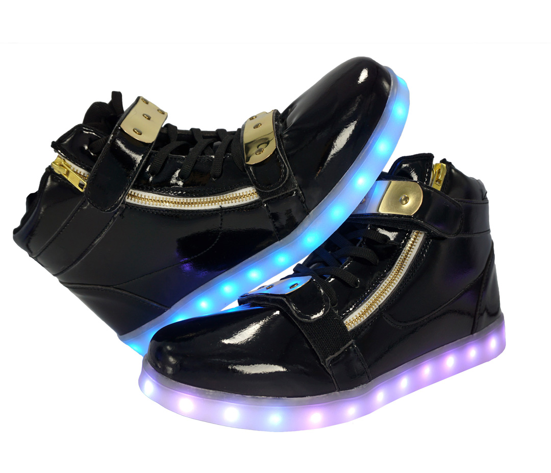 0a2bdf19da541 Galaxy LED Shoes Light Up USB Charging High Top Plated Lace & Strap Adult  Sneakers (Black Glossy/Gold)