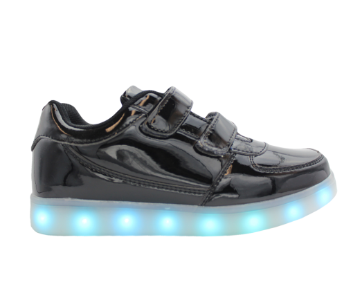 Kids-Black-lowtop-shiny-ledshoes-1