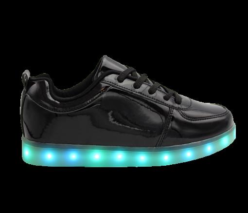 Mens-Woman-Black-lowtop-shiny-ledshoes-1