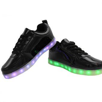 Mens-Woman-Black-lowtop-shiny-ledshoes-3