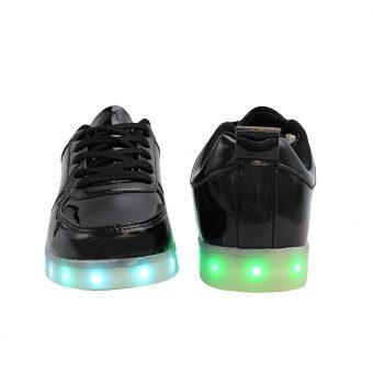 Mens-Woman-Black-lowtop-shiny-ledshoes-4