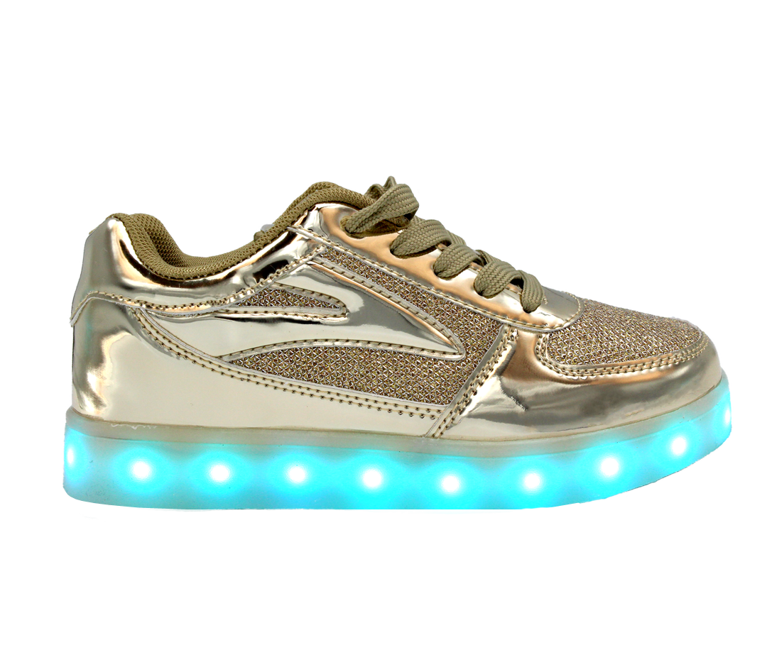 f94ed30b7e3a Galaxy LED Shoes Light Up USB Charging Low Top Kids Sneakers (Gold ...