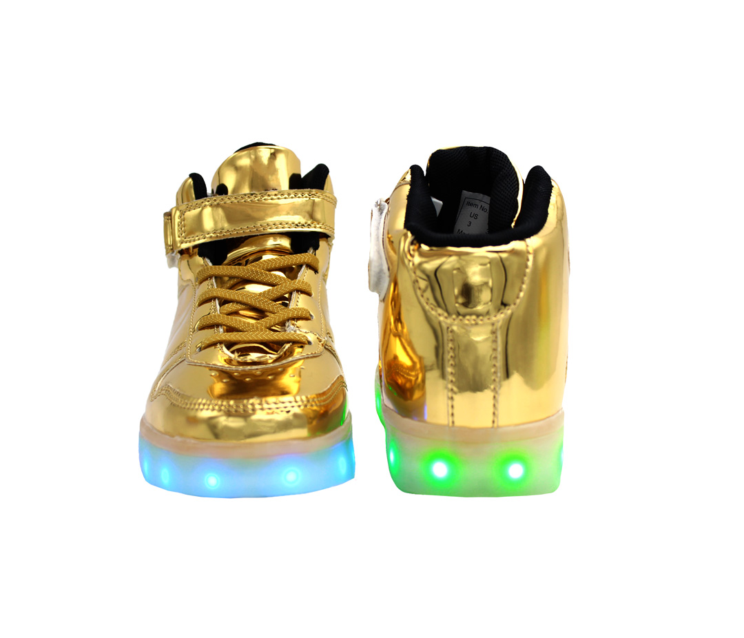 aea2488c Galaxy LED Shoes Light Up USB Charging High Top Lace & Strap Kids ...