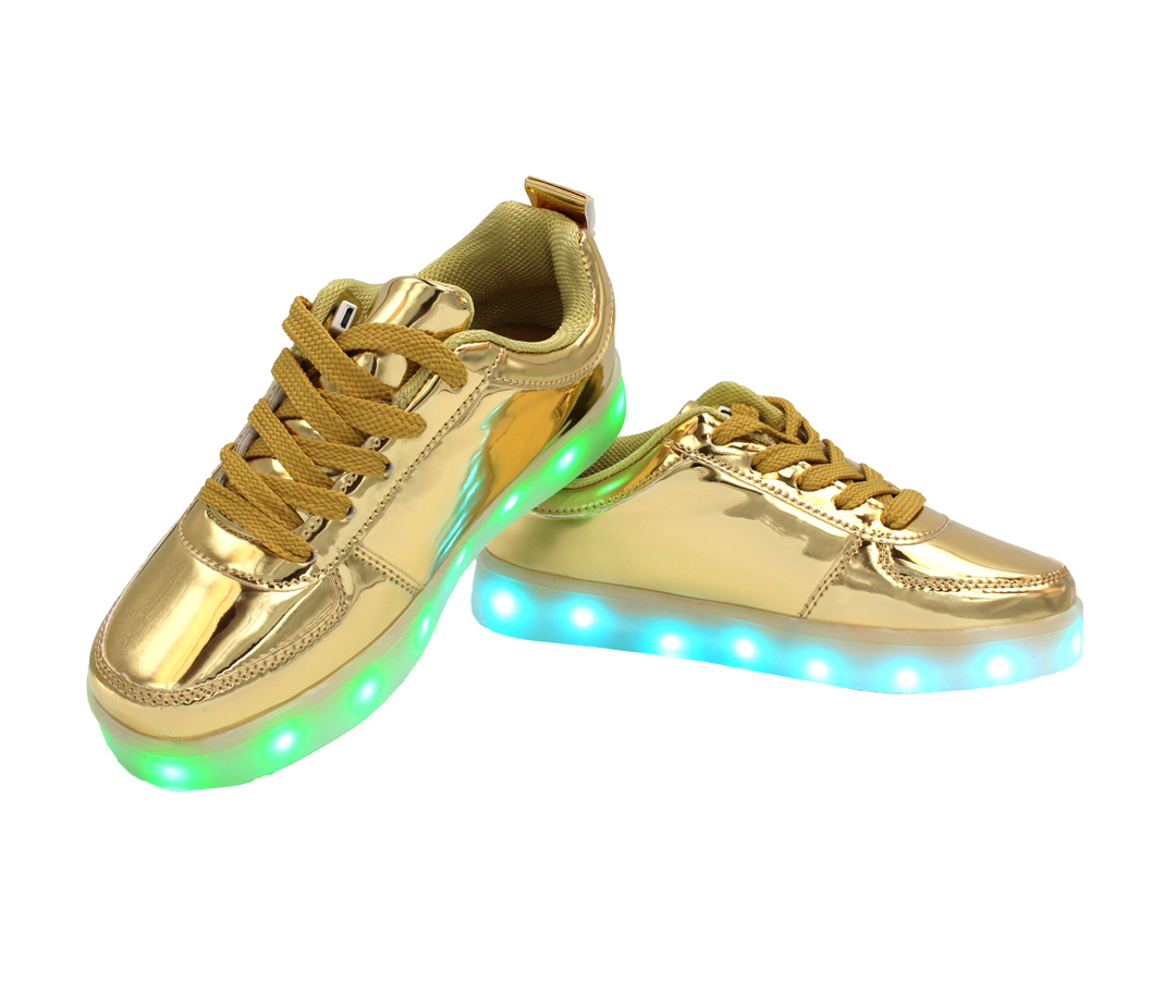 3f97c556 Galaxy LED Shoes Light Up USB Charging Low Top Kids Sneakers (Gold ...